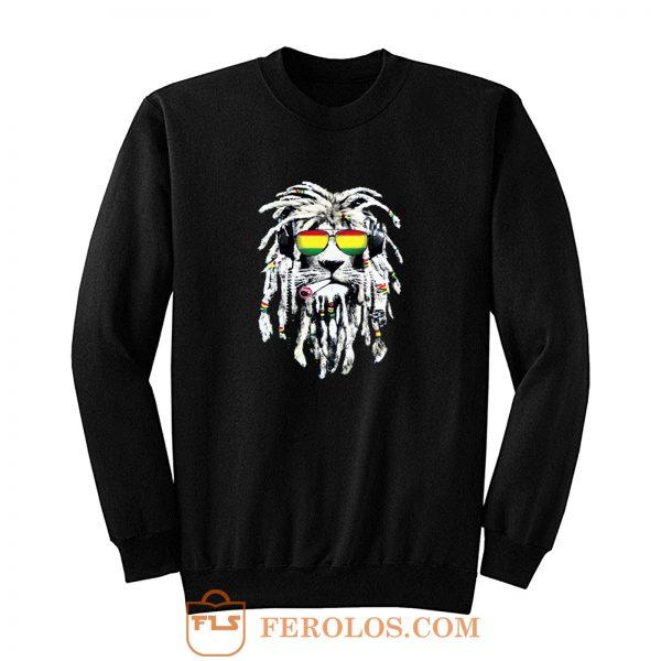 Rasta Lion Reggae Smoke Blunt Marijuana Weed Sweatshirt