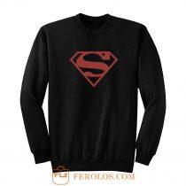 Superboy Superman Costume Red On Black Shield Dc Comics Sweatshirt