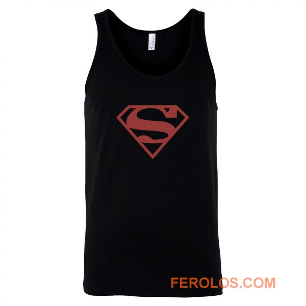 Superboy Superman Costume Red On Black Shield Dc Comics Tank Top