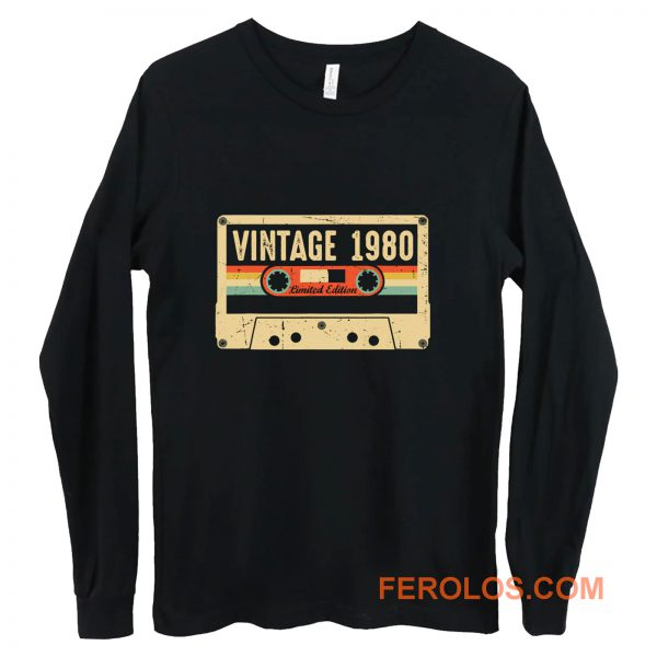 Vintage 1980 Made in 1980 40th birthday Gift Retro Cassette Long Sleeve