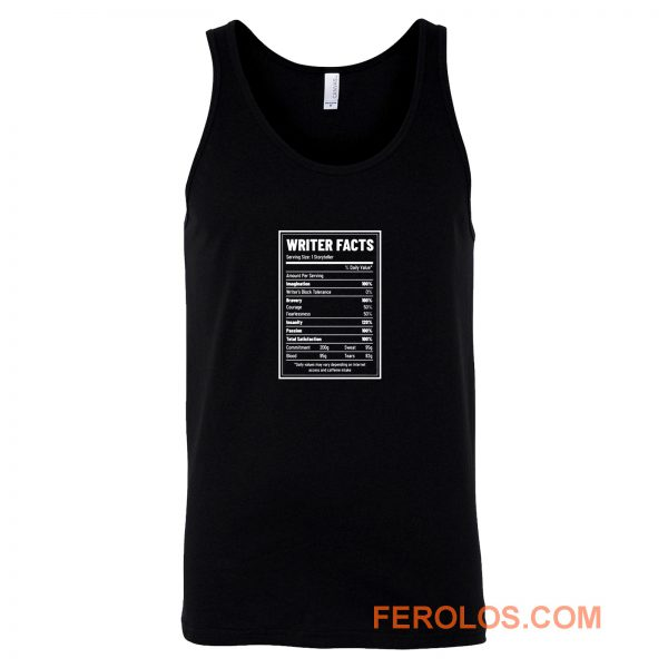 Writer Nutrition Facts Tank Top