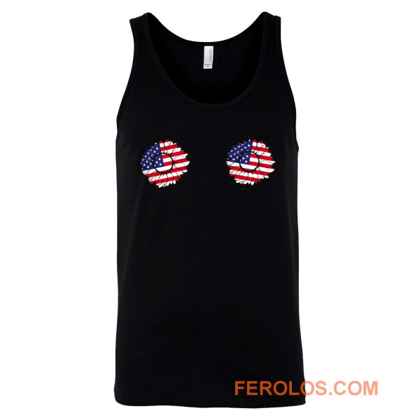 4th of July Sunflower Boobs USA flag Tank Top
