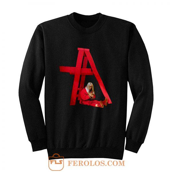 Billie Eilish In Red Action Sweatshirt