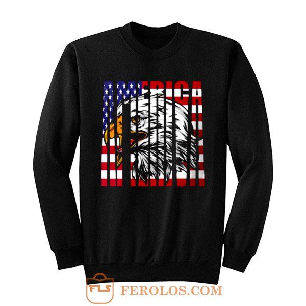 Eagle Mullet American Flag Sweatshirt