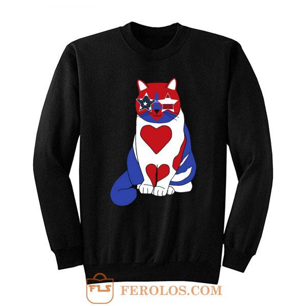 Funny Cat 4th of July American Flag Sweatshirt