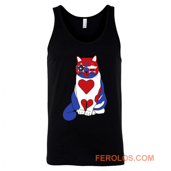 Funny Cat 4th of July American Flag Tank Top