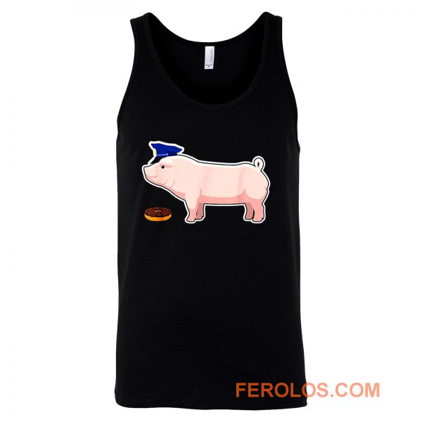 Funny Police Officer Pig Cop and Doughnut Tank Top