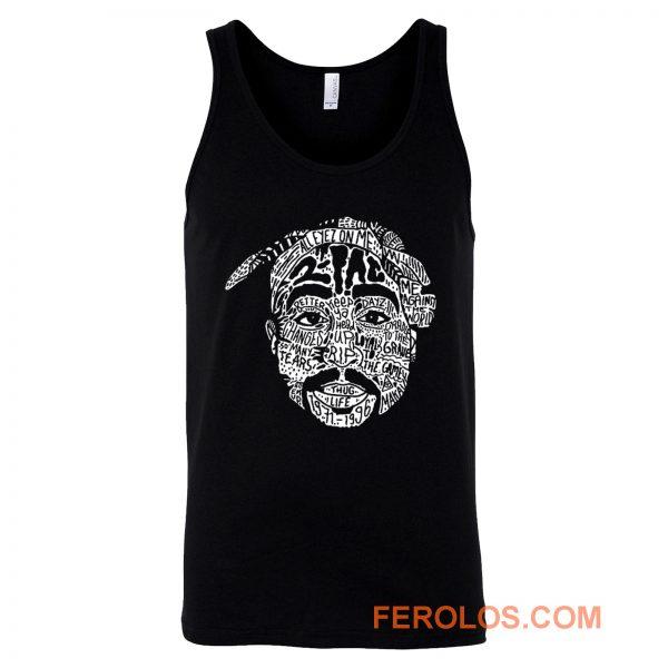 Hip Hop Face Tupac Sakur 2Pac Thug Life Tank Top
