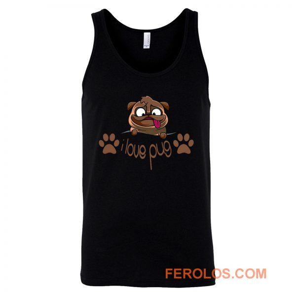 I Love Pug Dogie Lover Tank Top