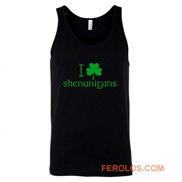 I Love Shenanigans Shamrock Clover Irish Tank Top
