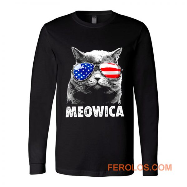Meowica Cat with Eye Glass America Long Sleeve