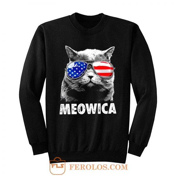 Meowica Cat with Eye Glass America Sweatshirt