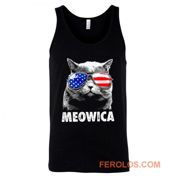 Meowica Cat with Eye Glass America Tank Top