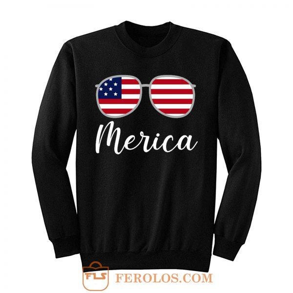 Merica Sunglasses USA Flag Sweatshirt