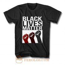 No Justice No Peace Black Lives Matter 3 Fist T Shirt