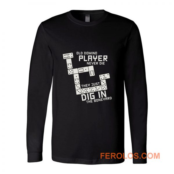 Old Domino Player Dominoes Tiles Puzzler Game Long Sleeve