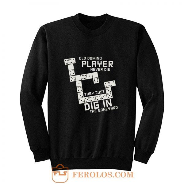 Old Domino Player Dominoes Tiles Puzzler Game Sweatshirt