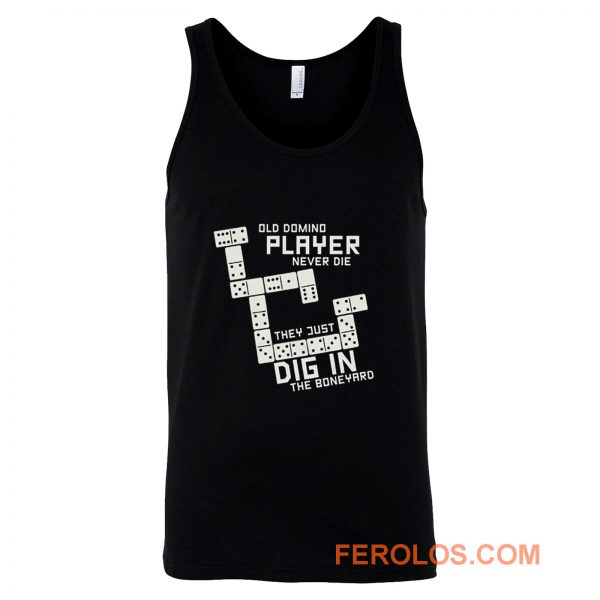 Old Domino Player Dominoes Tiles Puzzler Game Tank Top