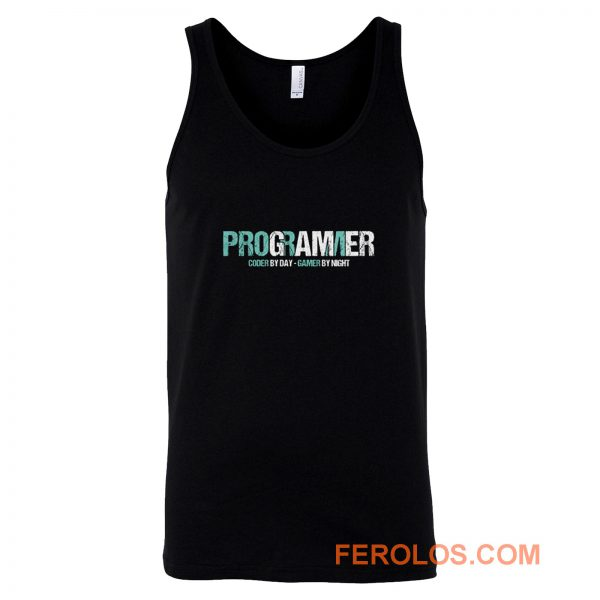 Programming Decipher Program Computer Technician Encoder Gift Programmer Coder By Day Gamer By Night Tank Top