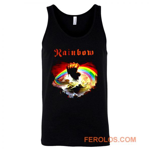 Rainbow Rising Hand Album Clouds Rock Roll Music Heavy Metal Tank Top