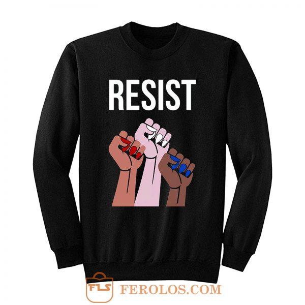 Reistst Womens Fists Political Sweatshirt