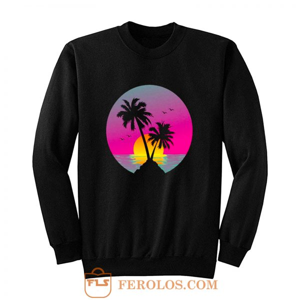 Retro 80s Neon Summer Beach Sunset Sweatshirt