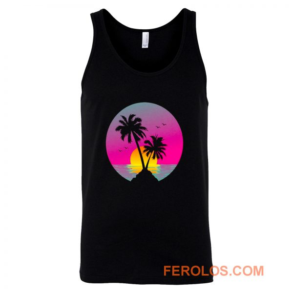 Retro 80s Neon Summer Beach Sunset Tank Top