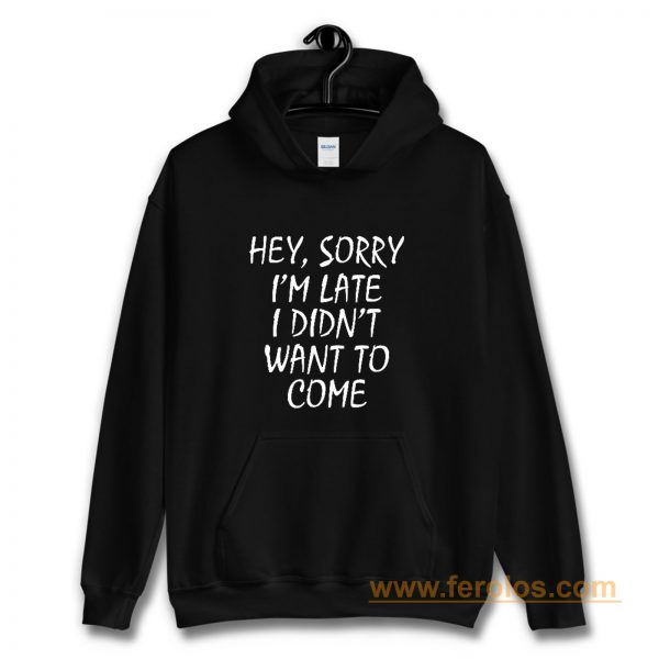 Sorry Im Late I Didnt Want to Come Hoodie