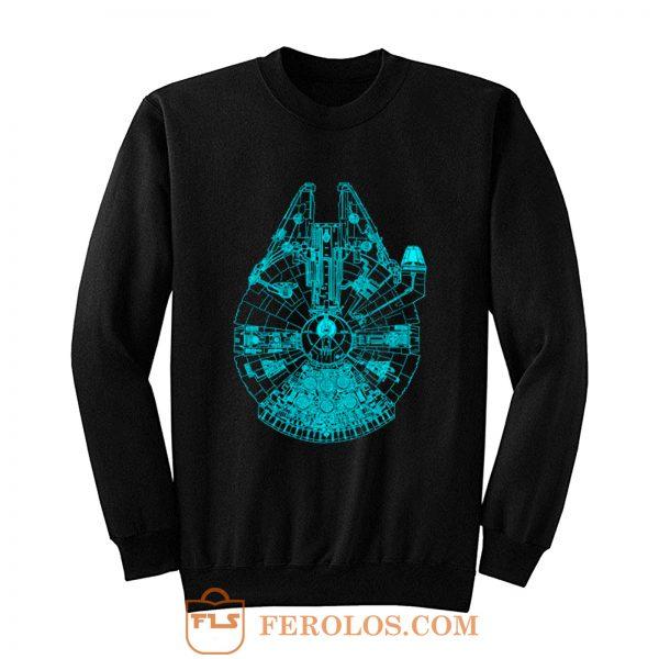 Star Wars Millennium Falcon Blue Outline Sweatshirt