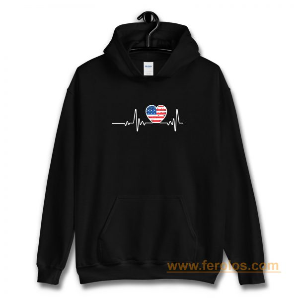 USA Flag Heart 4th Of July Hoodie