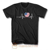 USA Flag Heart 4th Of July T Shirt