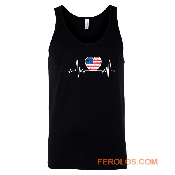 USA Flag Heart 4th Of July Tank Top