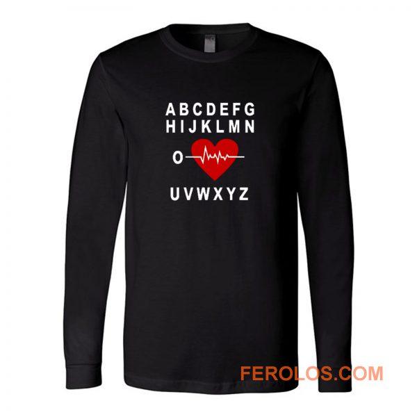 A B C D E F G H Love Heart Heartbeat Long Sleeve