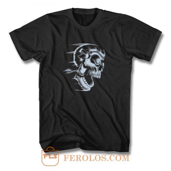 Flaming Skull T Shirt
