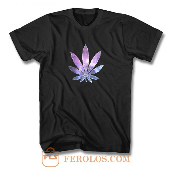 Galaxy Marijuana Leaf T Shirt