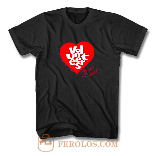 Jerzees Single Stitch Hearts At Work T Shirt