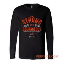 Kerusso Boys Athletic Shirt Navy Blue Strong Courageous Kids Christian Long Sleeve