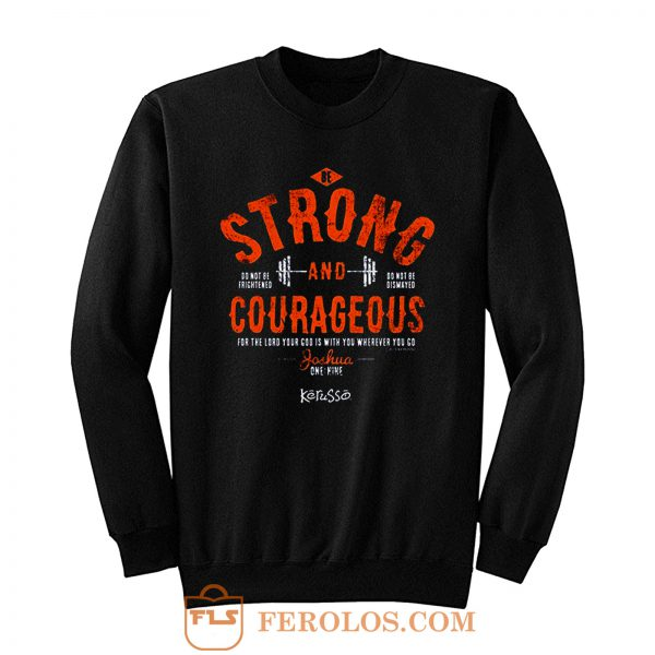 Kerusso Boys Athletic Shirt Navy Blue Strong Courageous Kids Christian Sweatshirt