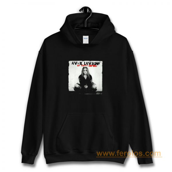My Happy Ending Avril Lavigne Black And White Poster Hoodie