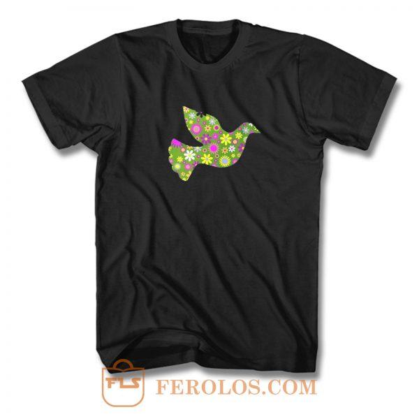 Peace Floral Bird Flower Peace Symbol T Shirt