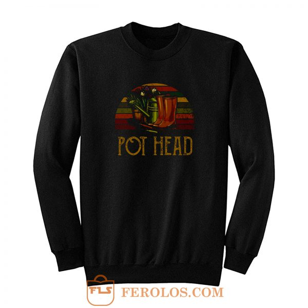 Pot Head Gardening Flowers Vintage Retro Sunset Sweatshirt