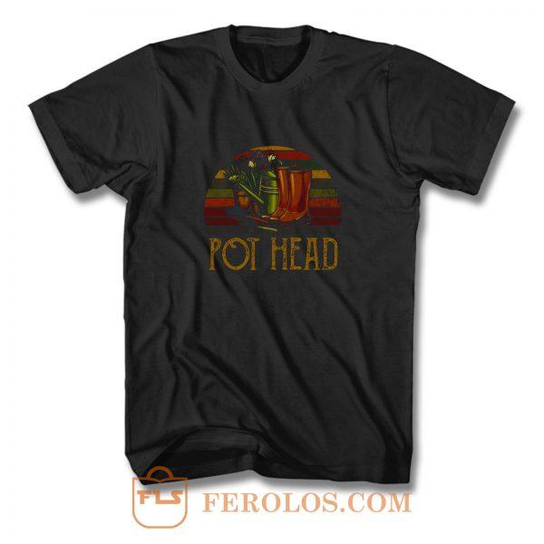 Pot Head Gardening Flowers Vintage Retro Sunset T Shirt