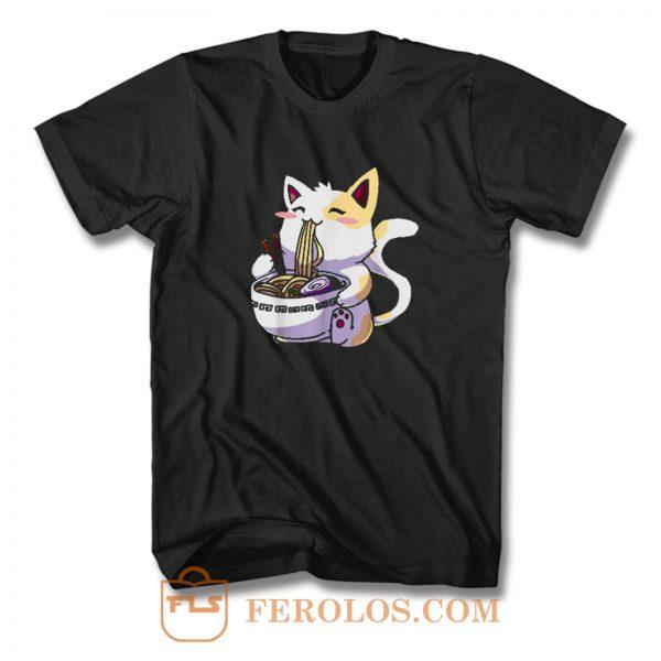 Ramen Cat Shirt Kawaii Anime Japanese Noodle Cat Lovers Funny T Shirt