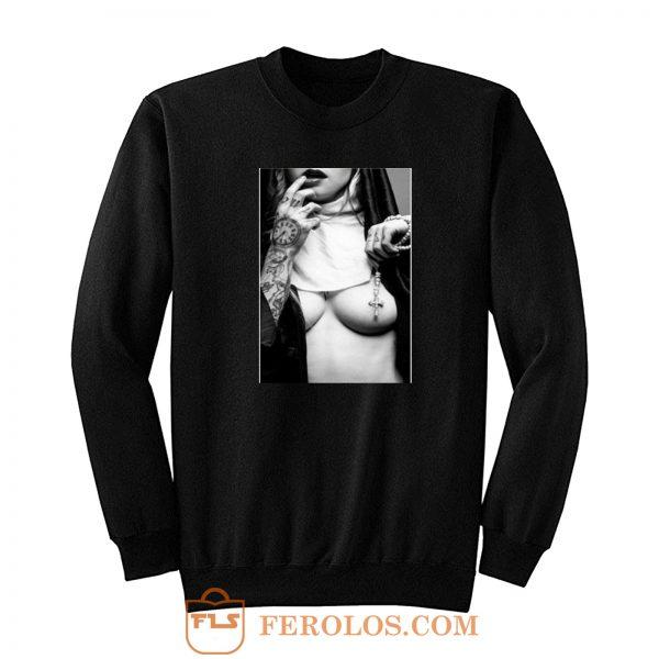 Sexy Nun Cross Tattoo Funny Sweatshirt