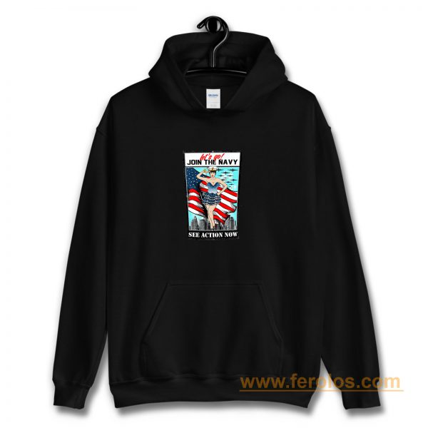 Usa Navy Pinup Sexy Lets Go Join Hoodie