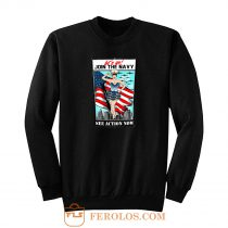 Usa Navy Pinup Sexy Lets Go Join Sweatshirt