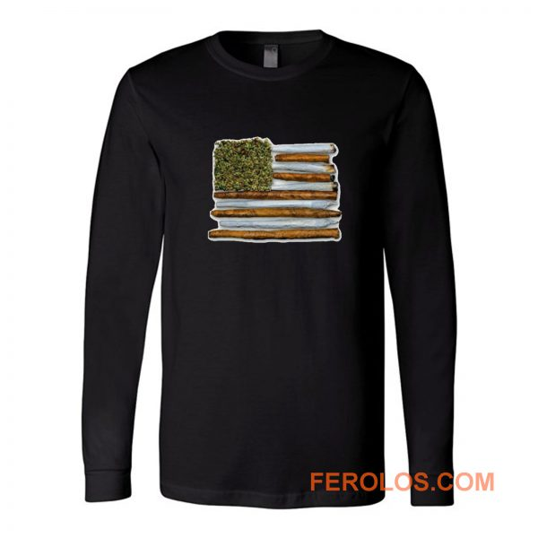 Weed Flag America High Drug Funny Long Sleeve