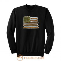 Weed Flag America High Drug Funny Sweatshirt