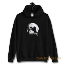 Wolf Shadow Puppet Unique Moon Outdoor Hike Camp Hoodie