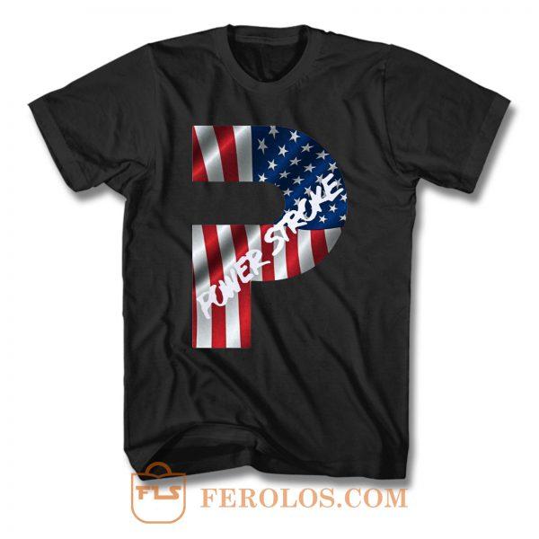 Ford Power Stroke Diesel American Flag T Shirt